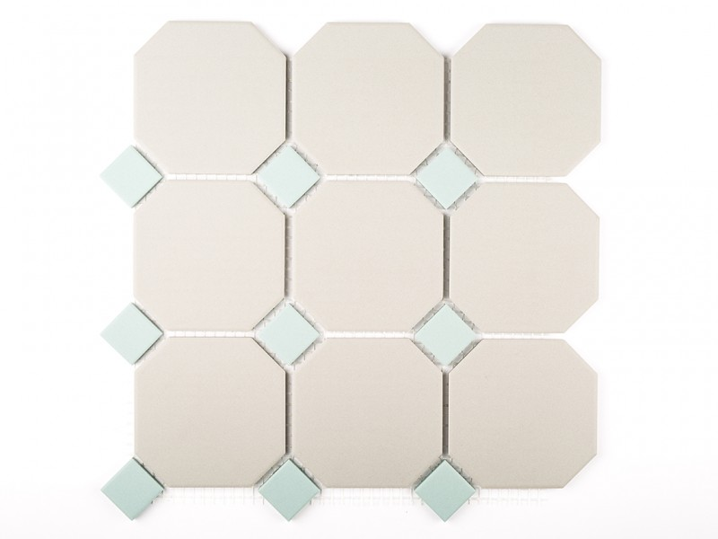 Dawn Grey Octagon with Eau De Nil Dot