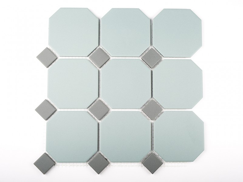 Pale Sage Octagon With Iron Grey Dot