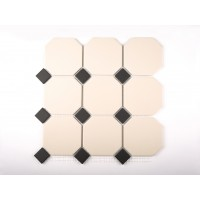 White Octagon with Black dot
