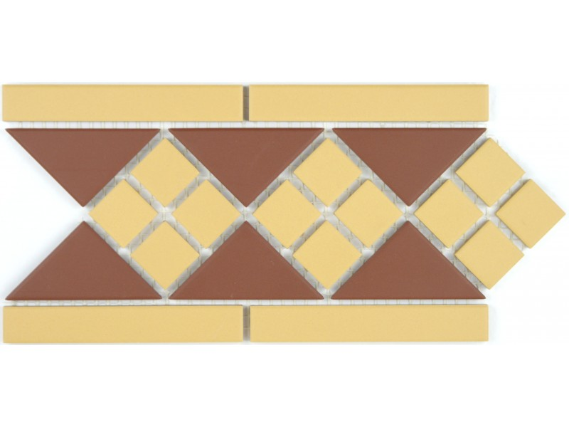Clifton Border Red And Mustard - Victorian Floor Tiles